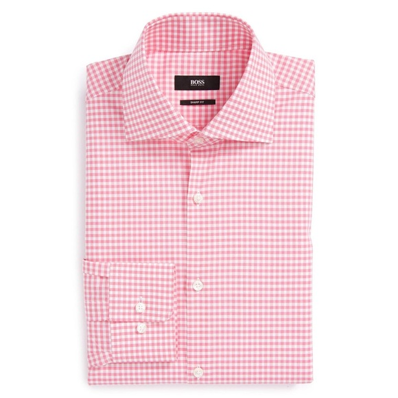 d474fc8c Hugo Boss Shirts | Boss Pink Gingham Check Sharp Fit Shirt | Poshmark